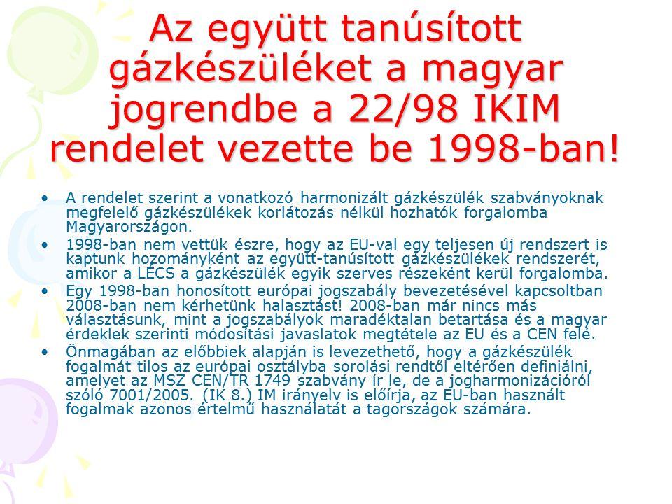 Az együtt tanúsított gázkészüléket a magyar jogrendbe a 22/98 IKIM rendelet vezette be 1998-ban!