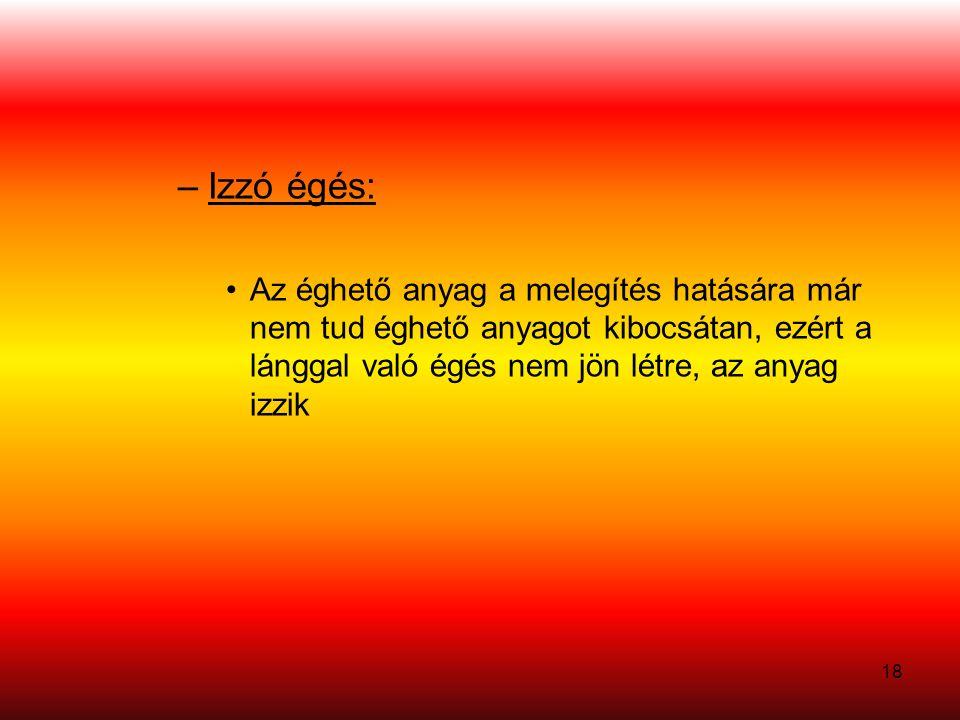 Izzó égés: Az éghető anyag a melegítés hatására már nem tud éghető anyagot kibocsátan, ezért a lánggal való égés nem jön létre, az anyag izzik.