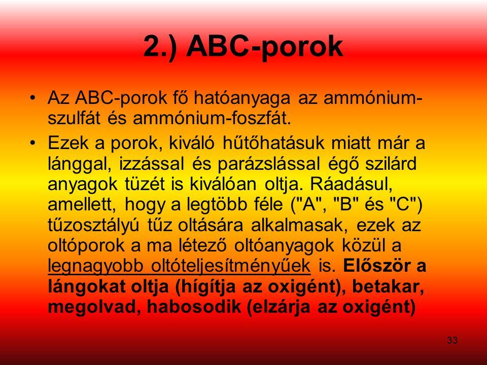 2.) ABC-porok Az ABC-porok fő hatóanyaga az ammónium-szulfát és ammónium-foszfát.