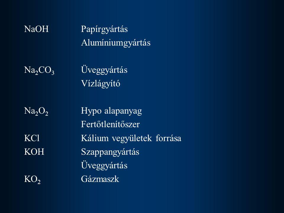 NaOH Papírgyártás Alumíniumgyártás. Na2CO3 Üveggyártás. Vízlágyító. Na2O2 Hypo alapanyag. Fertőtlenítőszer.