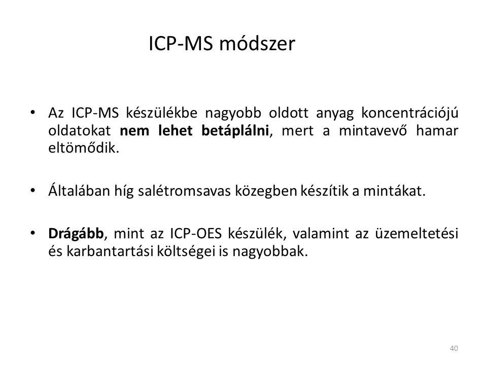 ICP-MS módszer Az ICP-MS készülékbe nagyobb oldott anyag koncentrációjú oldatokat nem lehet betáplálni, mert a mintavevő hamar eltömődik.