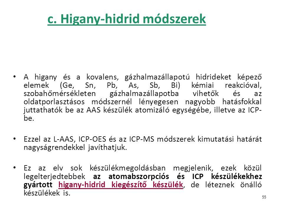 c. Higany-hidrid módszerek