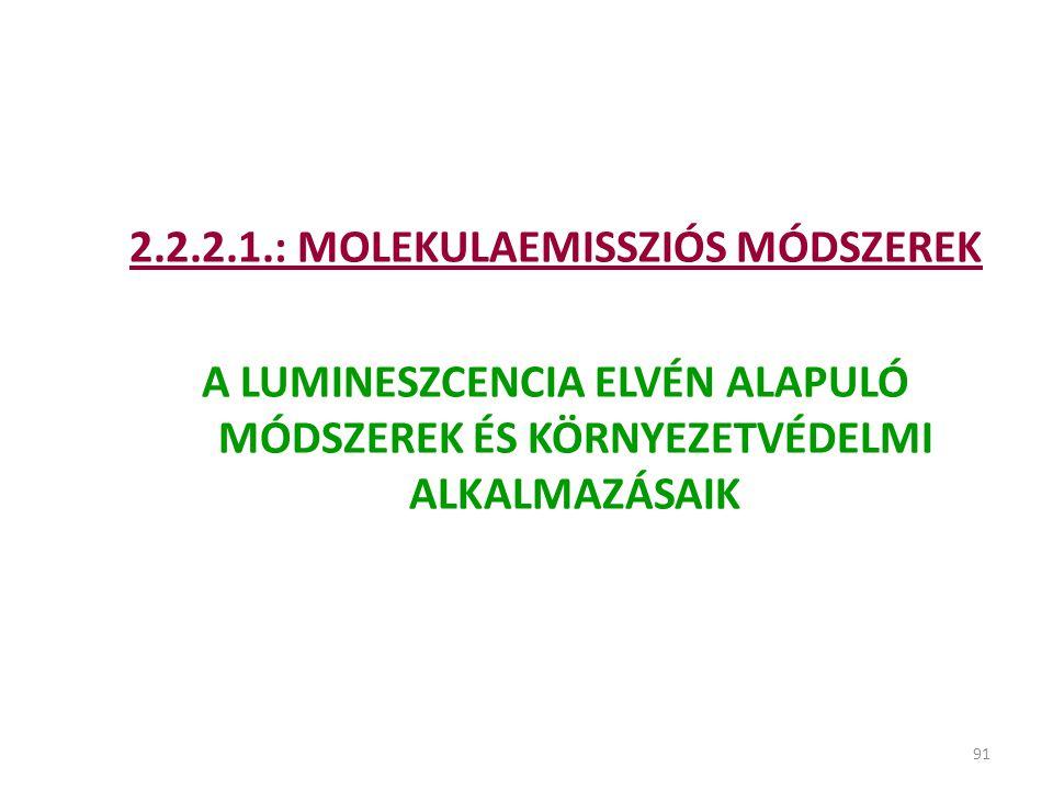 2.2.2.1.: MOLEKULAEMISSZIÓS MÓDSZEREK
