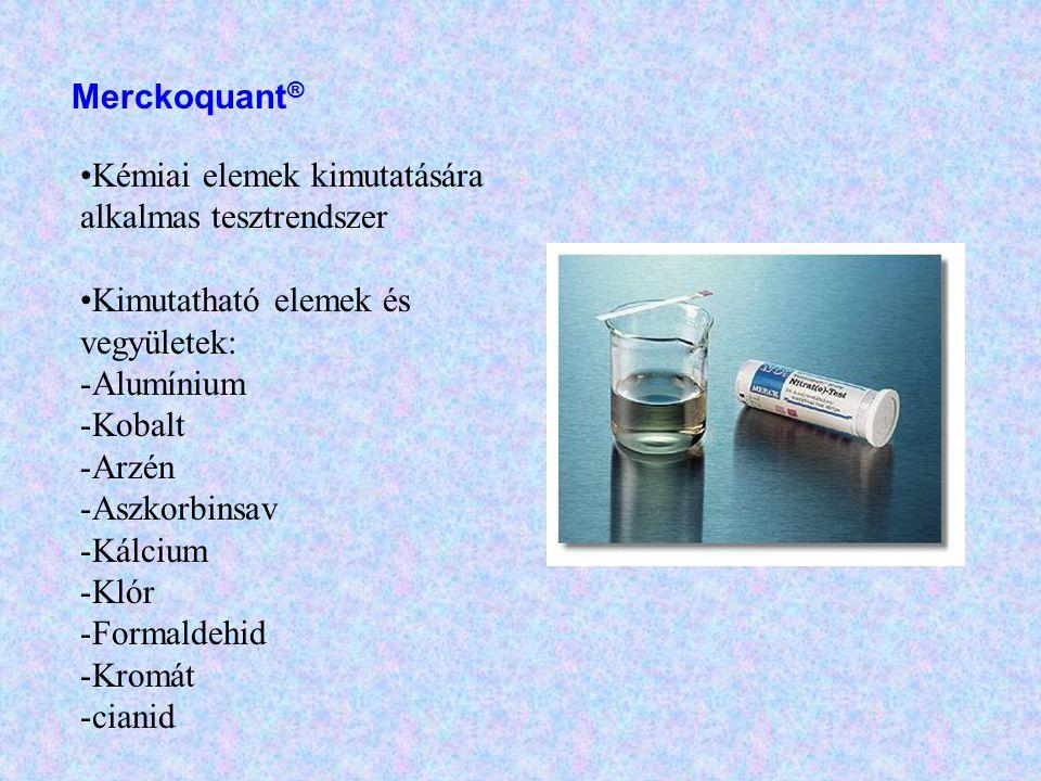 Merckoquant® Kémiai elemek kimutatására alkalmas tesztrendszer. Kimutatható elemek és vegyületek: Alumínium.