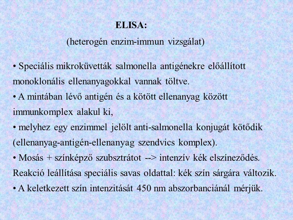 ELISA: (heterogén enzim-immun vizsgálat) Speciális mikroküvetták salmonella antigénekre előállított monoklonális ellenanyagokkal vannak töltve.