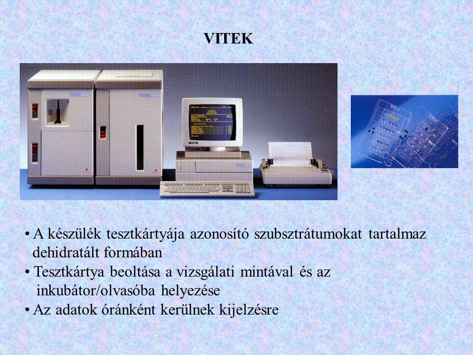 VITEK A készülék tesztkártyája azonosító szubsztrátumokat tartalmaz. dehidratált formában. Tesztkártya beoltása a vizsgálati mintával és az.