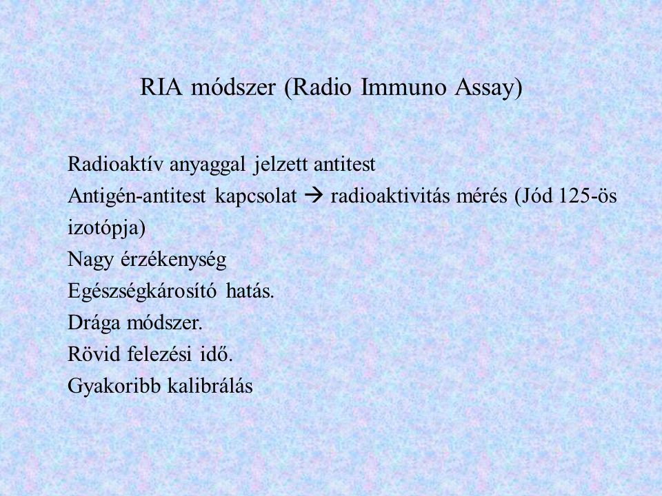 RIA módszer (Radio Immuno Assay)
