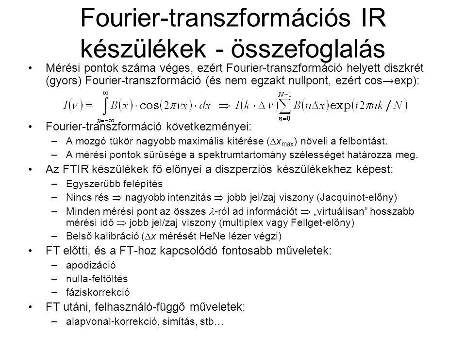 Fourier-transzformációs IR készülékek - összefoglalás