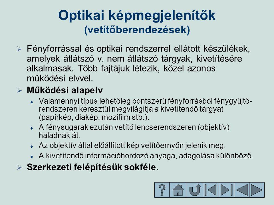 Optikai képmegjelenítők (vetítőberendezések)