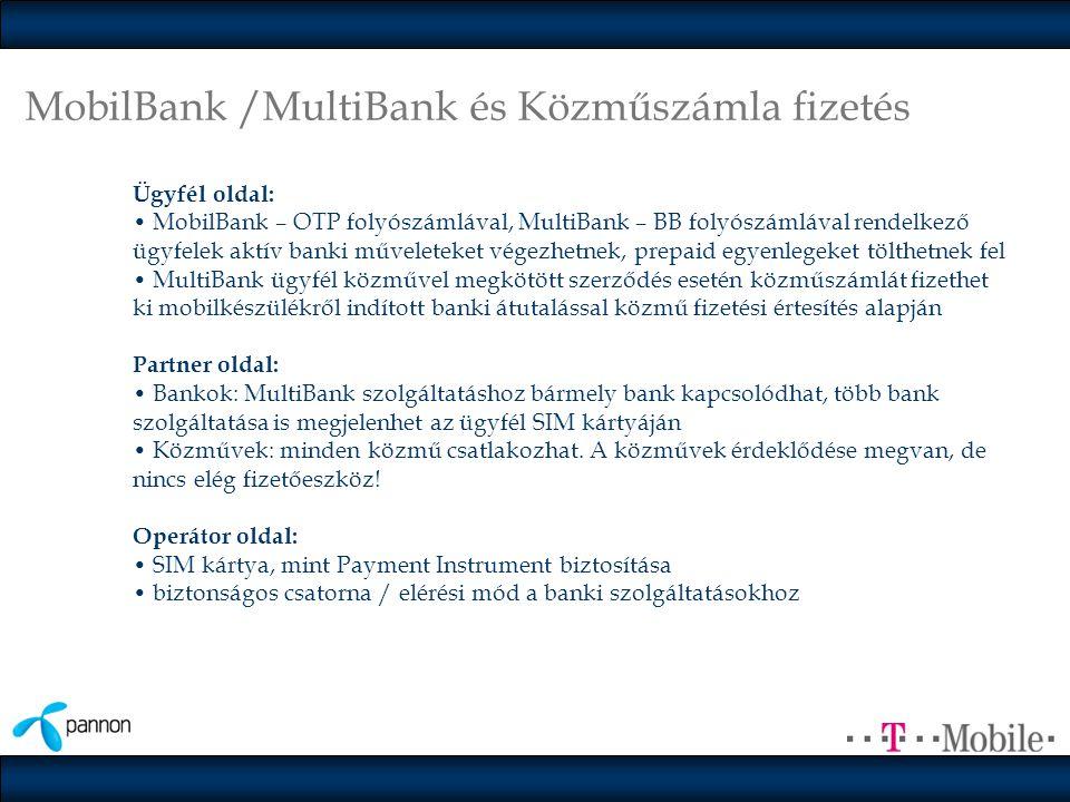 MobilBank /MultiBank és Közműszámla fizetés