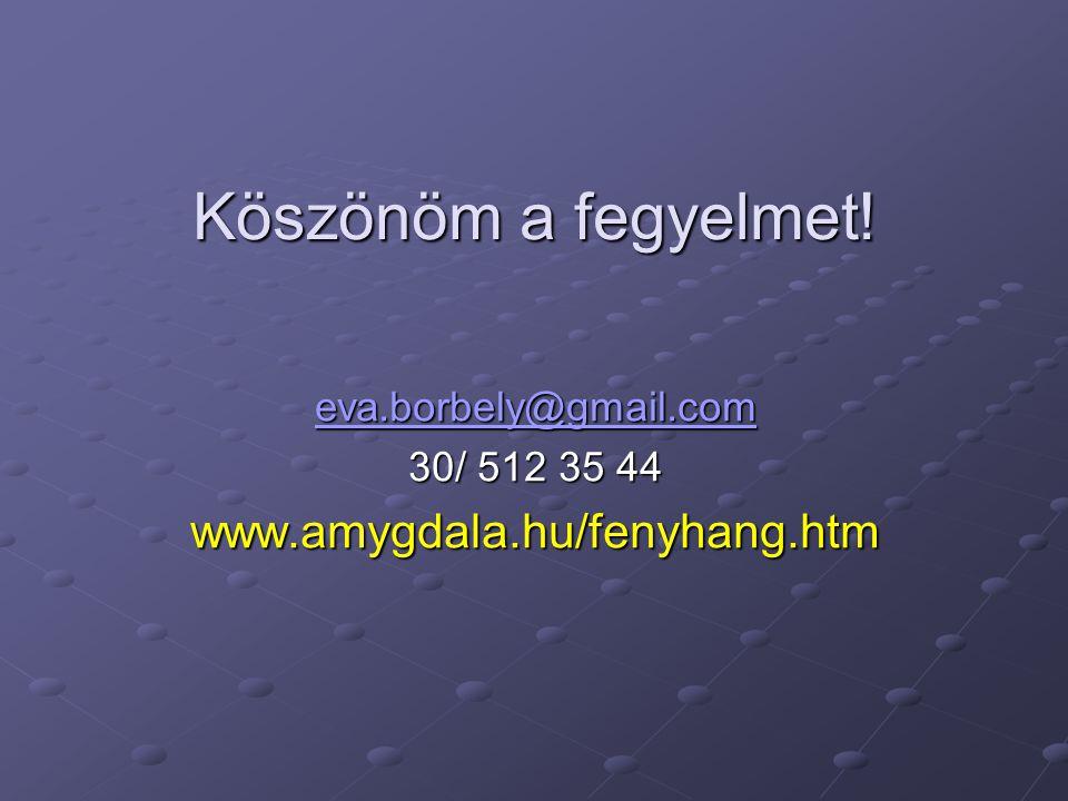 Köszönöm a fegyelmet! www.amygdala.hu/fenyhang.htm