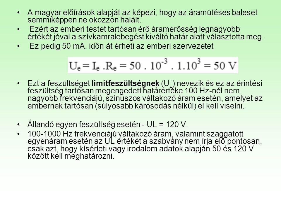 A magyar előírások alapját az képezi, hogy az áramütéses baleset semmiképpen ne okozzon halált.