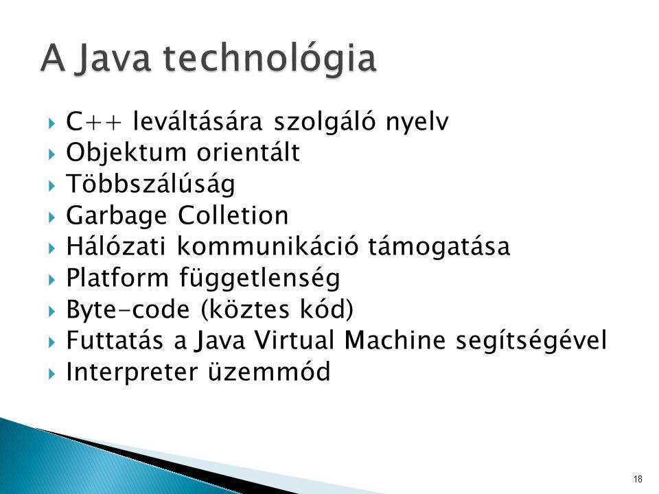 A Java technológia C++ leváltására szolgáló nyelv Objektum orientált