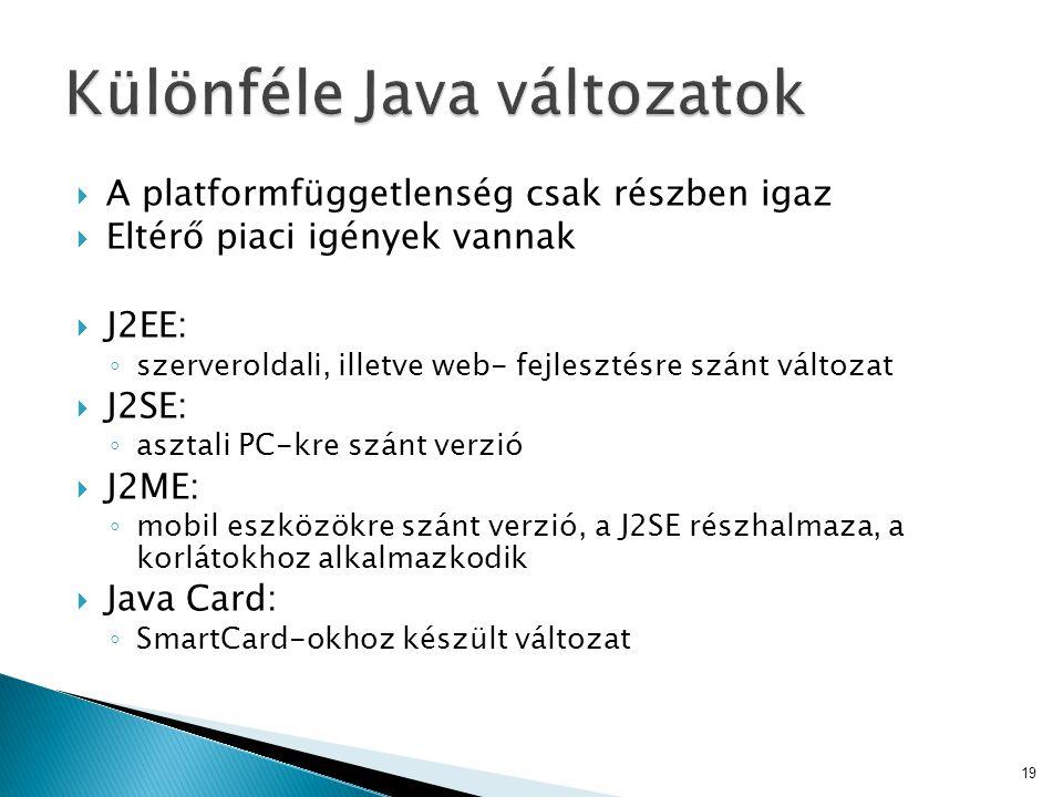 Különféle Java változatok