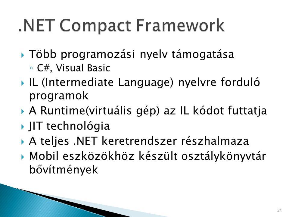 .NET Compact Framework Több programozási nyelv támogatása