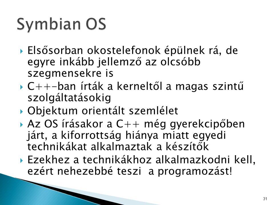 Symbian OS Elsősorban okostelefonok épülnek rá, de egyre inkább jellemző az olcsóbb szegmensekre is.