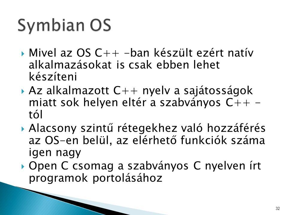 Symbian OS Mivel az OS C++ -ban készült ezért natív alkalmazásokat is csak ebben lehet készíteni.