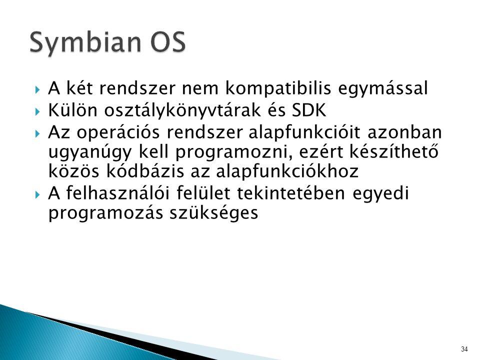 Symbian OS A két rendszer nem kompatibilis egymással