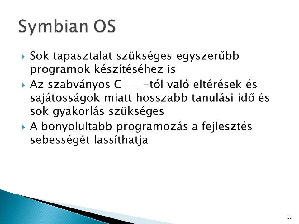 Symbian OS Sok tapasztalat szükséges egyszerűbb programok készítéséhez is.
