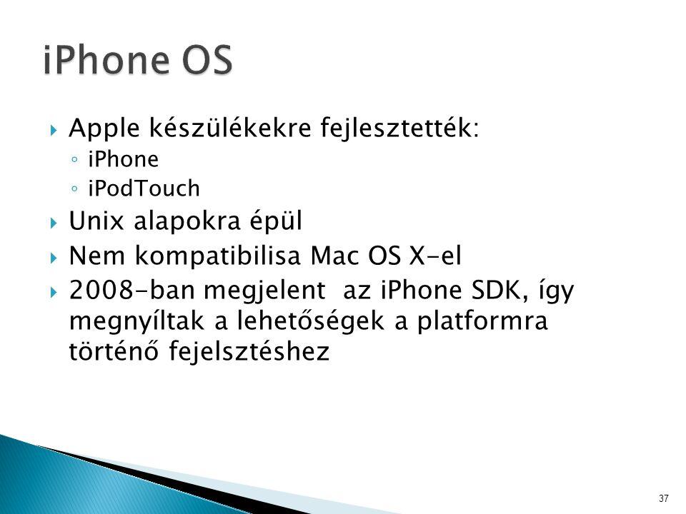iPhone OS Apple készülékekre fejlesztették: Unix alapokra épül