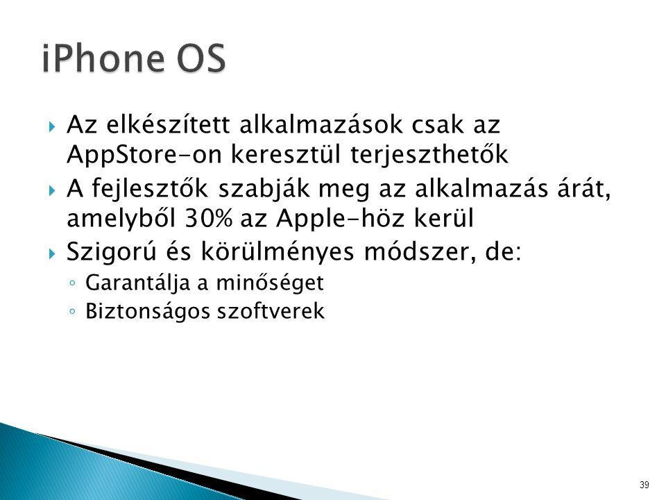 iPhone OS Az elkészített alkalmazások csak az AppStore-on keresztül terjeszthetők.