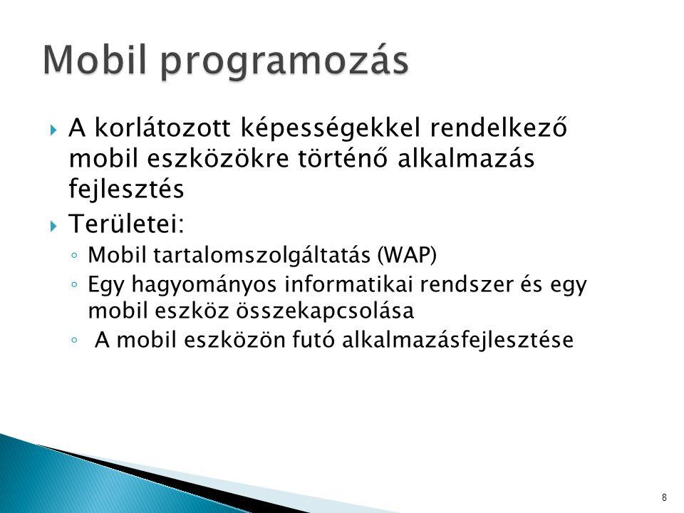 Mobil programozás A korlátozott képességekkel rendelkező mobil eszközökre történő alkalmazás fejlesztés.