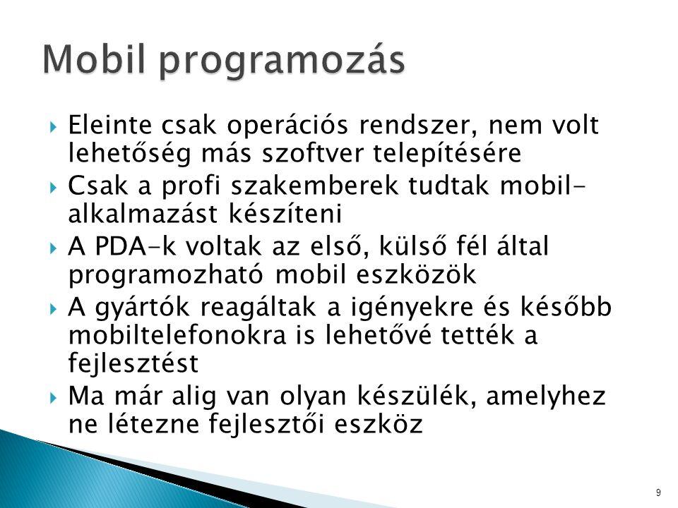 Mobil programozás Eleinte csak operációs rendszer, nem volt lehetőség más szoftver telepítésére.