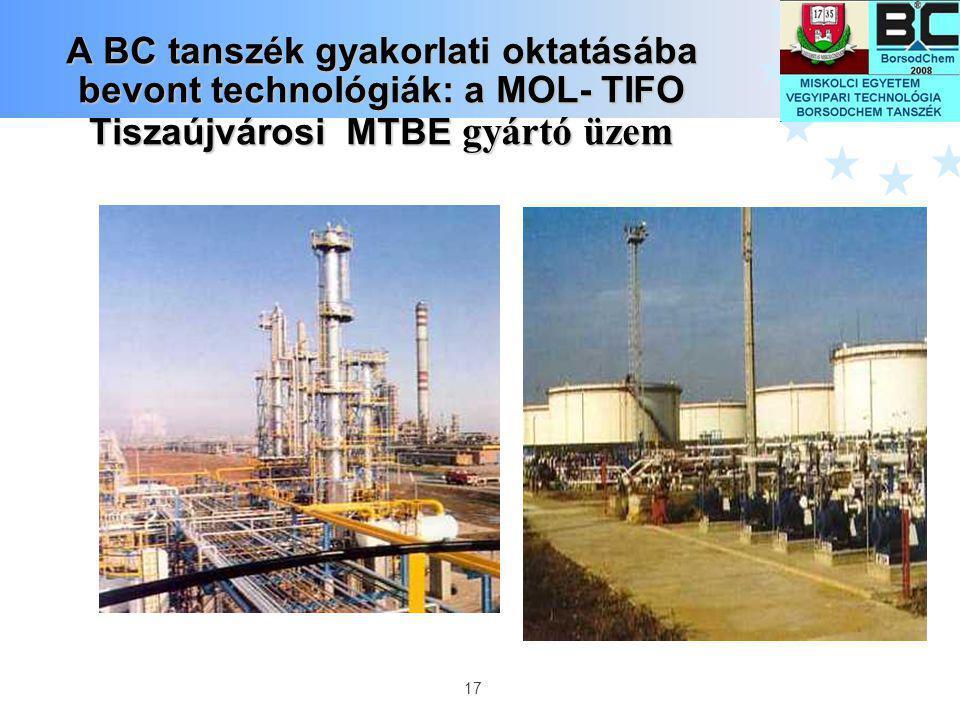 A BC tanszék gyakorlati oktatásába bevont technológiák: a MOL- TIFO Tiszaújvárosi MTBE gyártó üzem