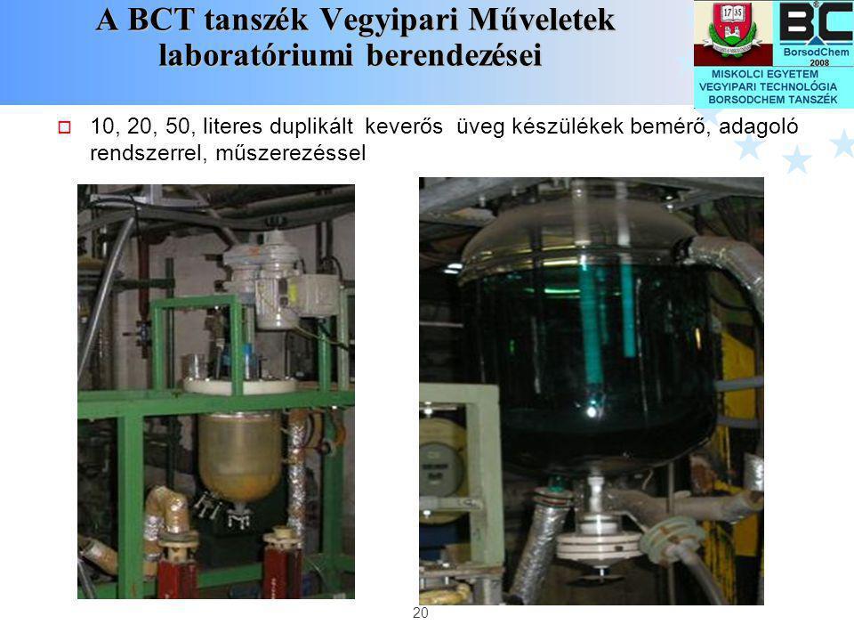 A BCT tanszék Vegyipari Műveletek laboratóriumi berendezései