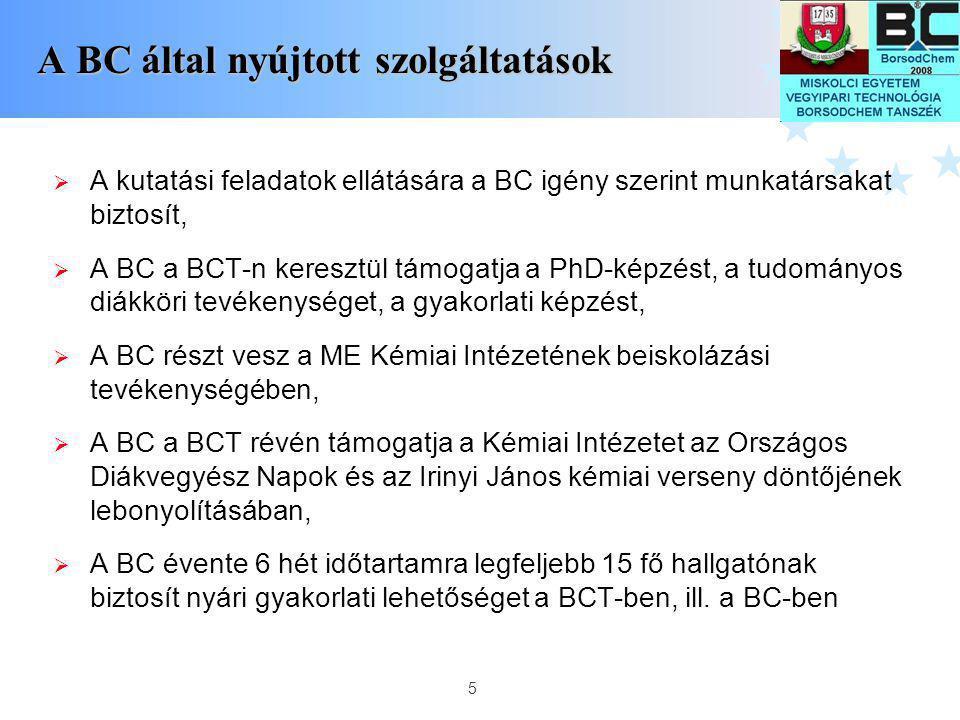 A BC által nyújtott szolgáltatások