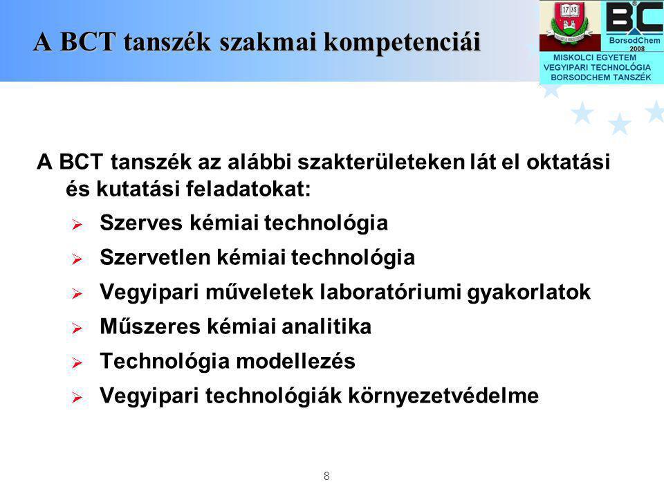 A BCT tanszék szakmai kompetenciái