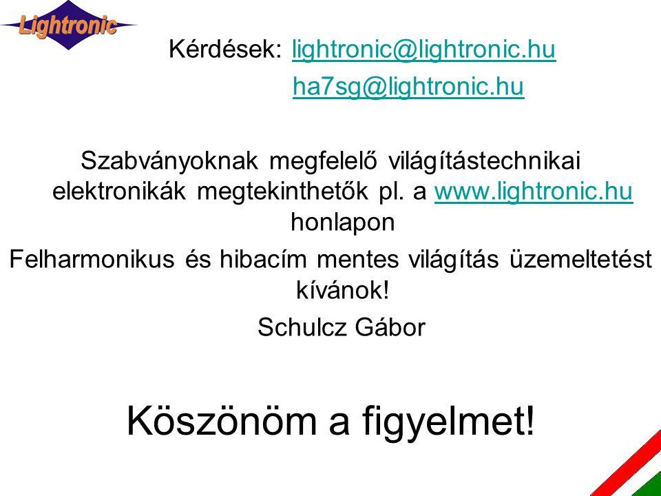 Köszönöm a figyelmet! Kérdések: lightronic@lightronic.hu