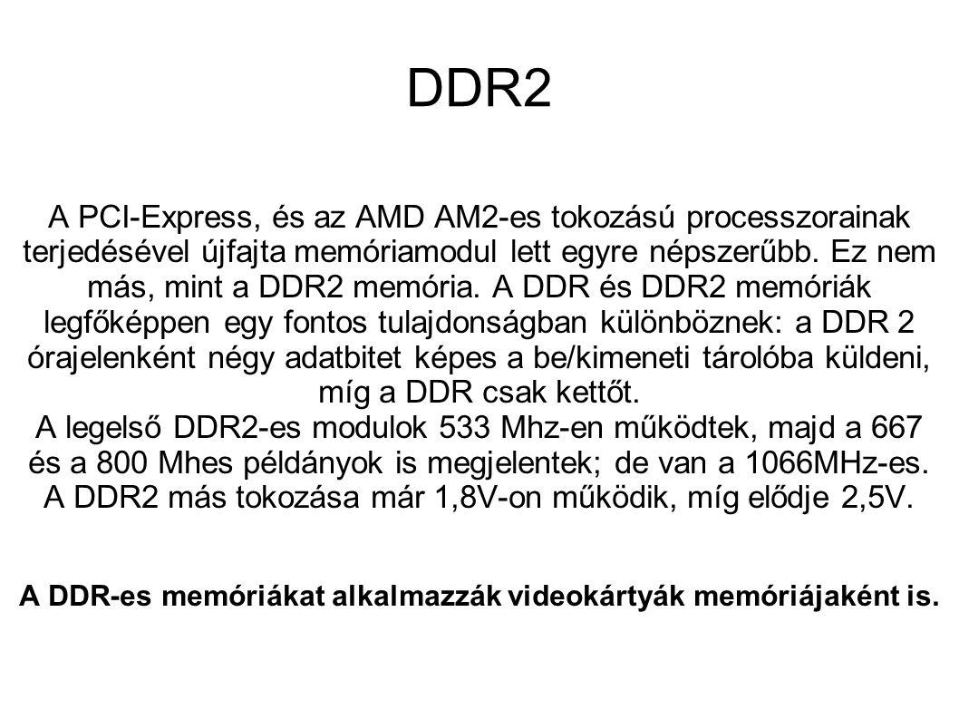 A DDR-es memóriákat alkalmazzák videokártyák memóriájaként is.