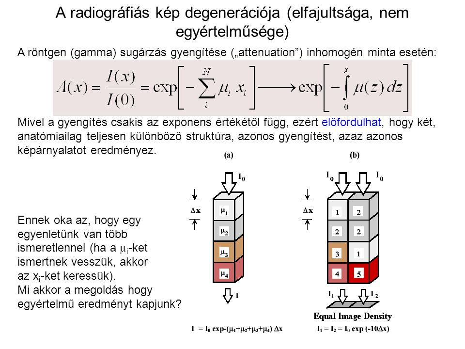 A radiográfiás kép degenerációja (elfajultsága, nem egyértelműsége)