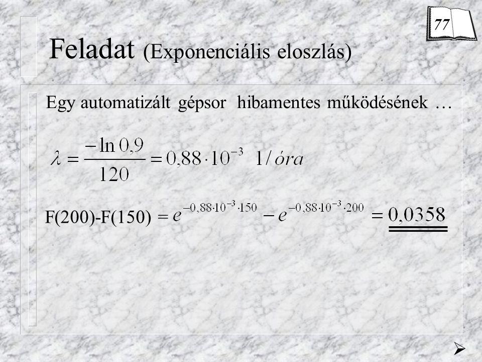 Feladat (Exponenciális eloszlás)