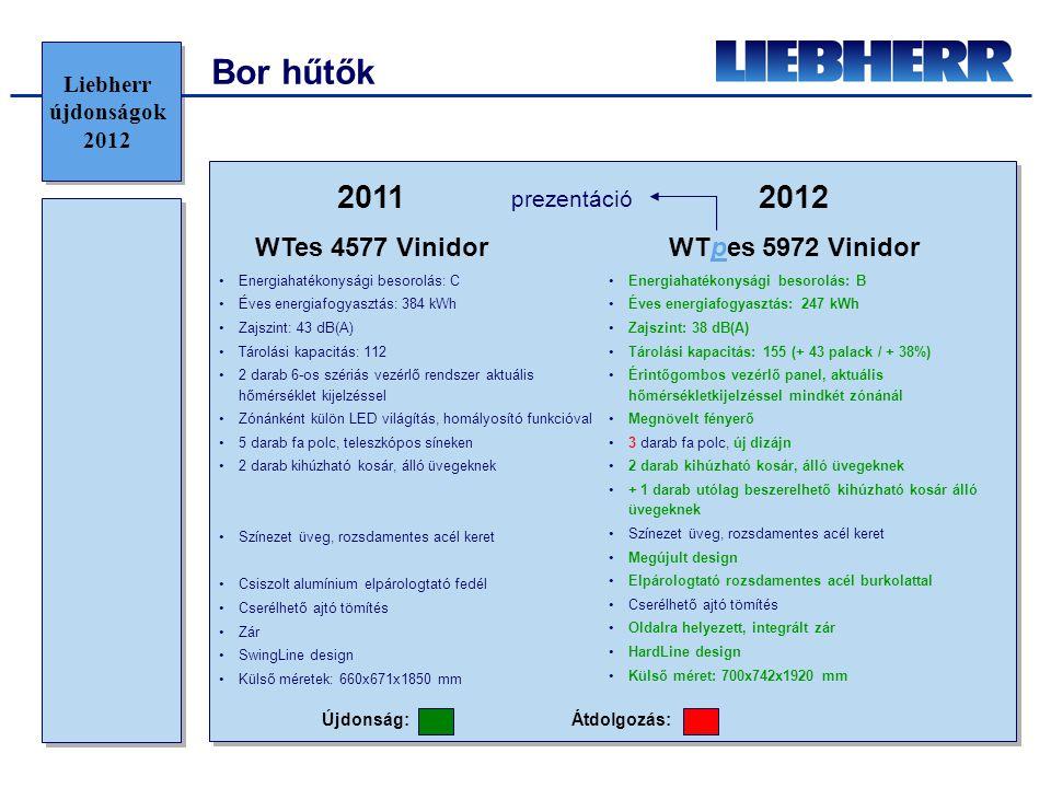 Bor hűtők 2011 2012 WTes 4577 Vinidor WTpes 5972 Vinidor