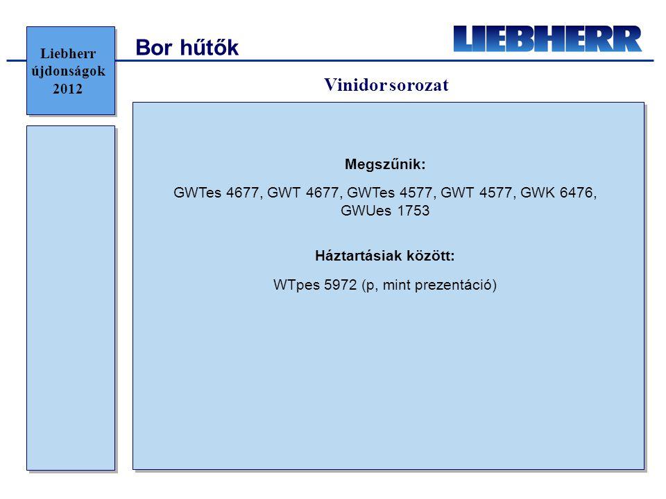 Bor hűtők Vinidor sorozat Liebherr újdonságok 2012 Megszűnik: