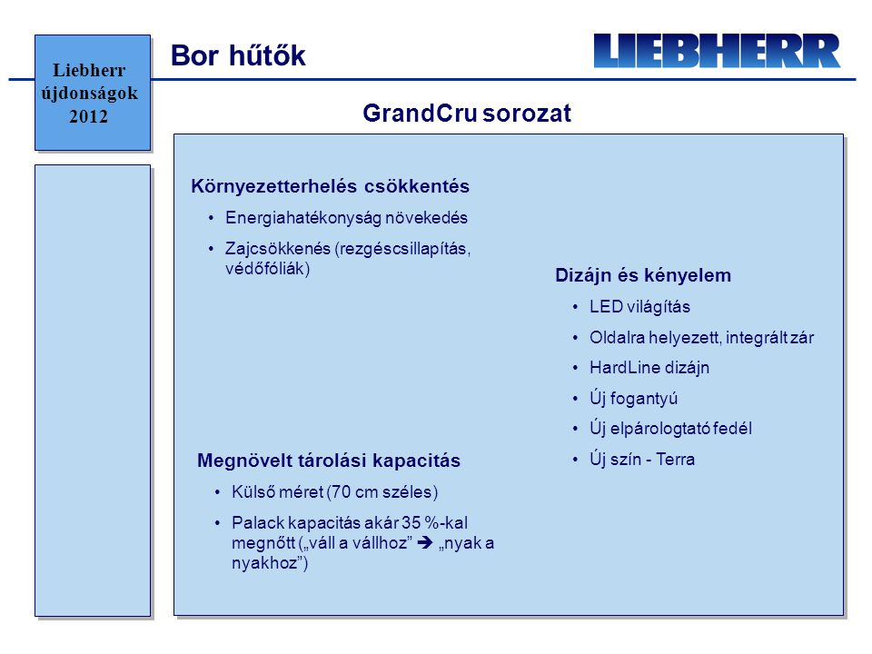 Bor hűtők GrandCru sorozat Liebherr újdonságok 2012