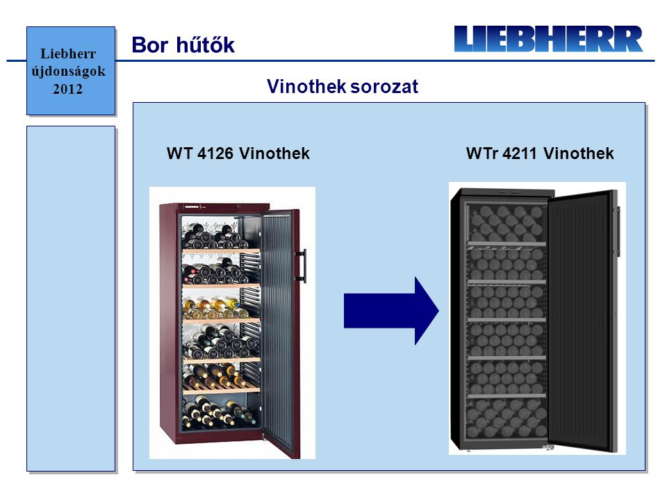 Bor hűtők Vinothek sorozat WT 4126 Vinothek WTr 4211 Vinothek