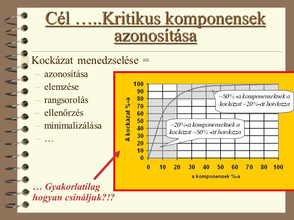 Cél …..Kritikus komponensek azonosítása