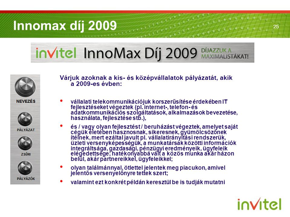 Innomax díj 2009 Várjuk azoknak a kis- és középvállalatok pályázatát, akik a 2009-es évben: