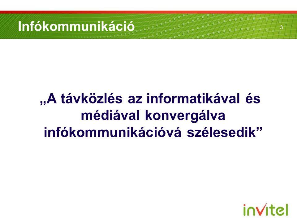 """Infókommunikáció """"A távközlés az informatikával és médiával konvergálva infókommunikációvá szélesedik"""