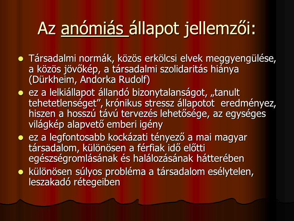 Az anómiás állapot jellemzői: