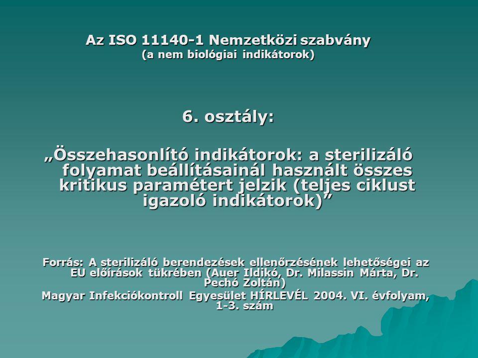 Az ISO 11140-1 Nemzetközi szabvány (a nem biológiai indikátorok)