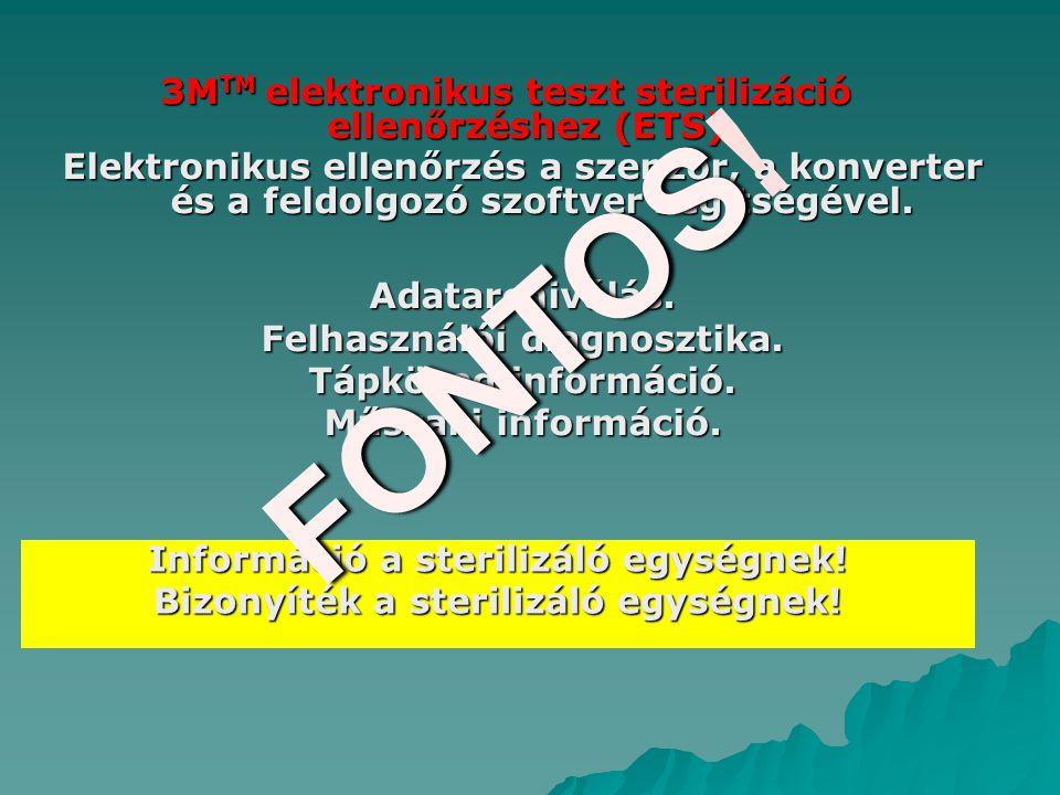 FONTOS! 3MTM elektronikus teszt sterilizáció ellenőrzéshez (ETS)