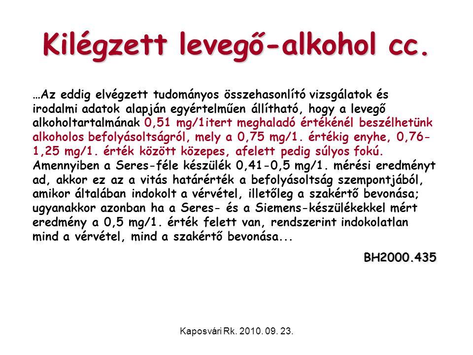 Kilégzett levegő-alkohol cc.