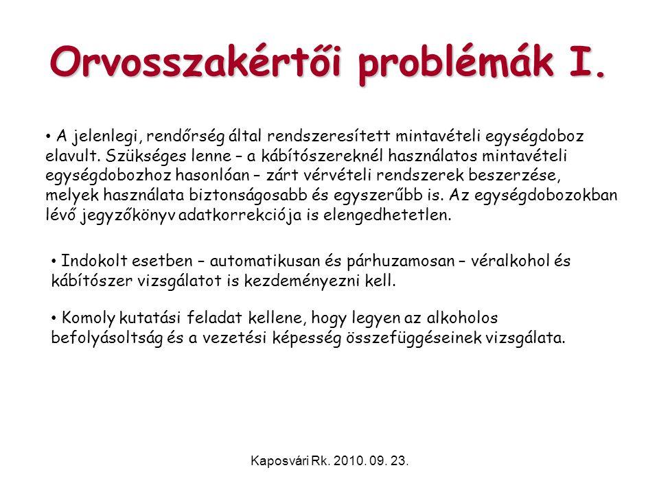 Orvosszakértői problémák I.
