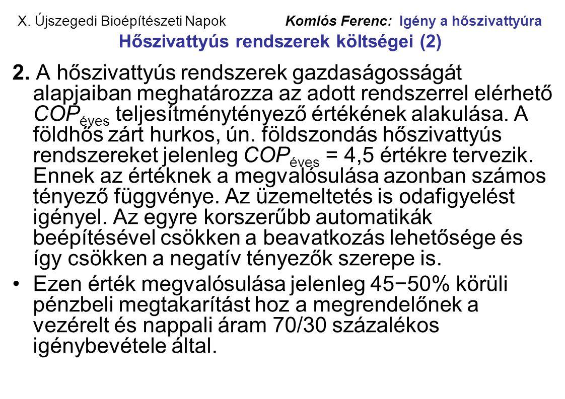 X. Újszegedi Bioépítészeti Napok Komlós Ferenc: Igény a hőszivattyúra Hőszivattyús rendszerek költségei (2)