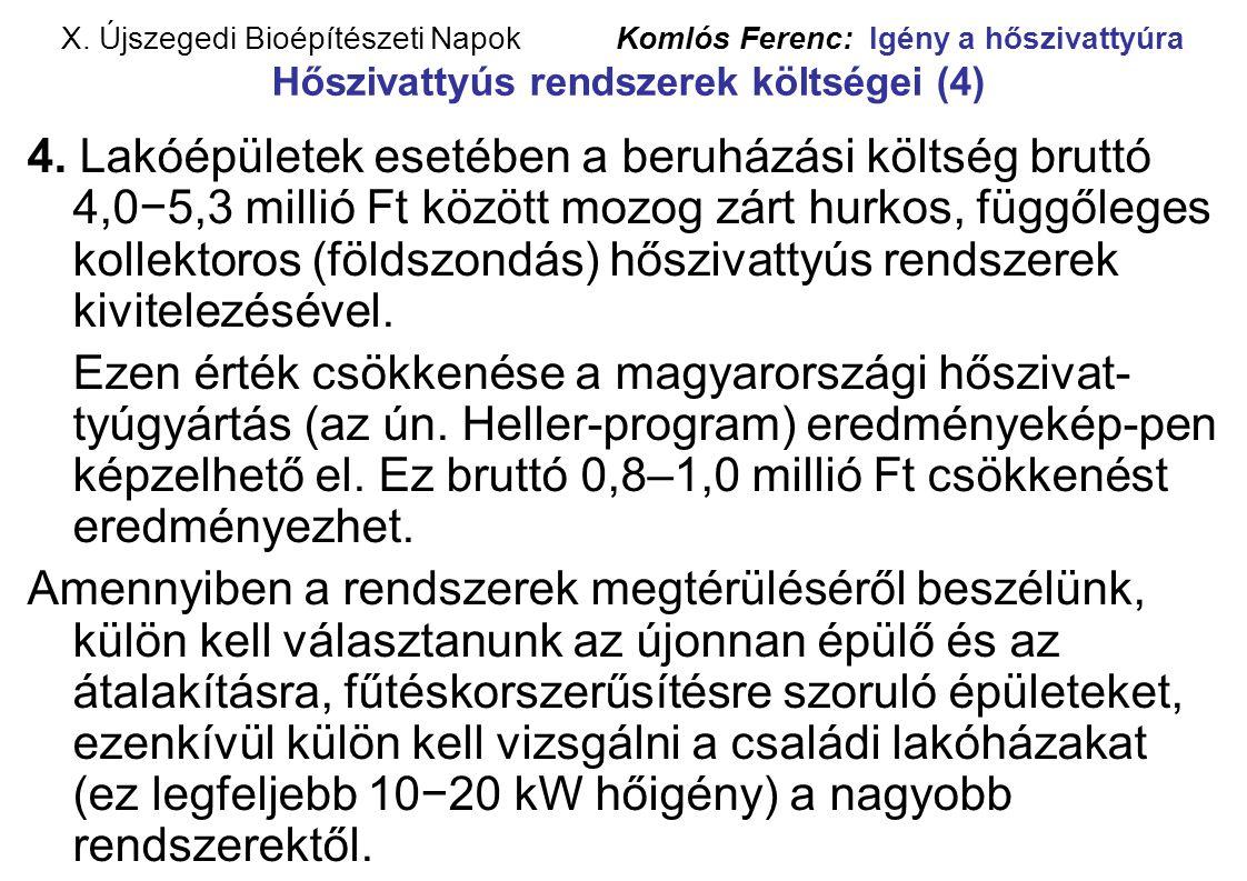 X. Újszegedi Bioépítészeti Napok Komlós Ferenc: Igény a hőszivattyúra Hőszivattyús rendszerek költségei (4)