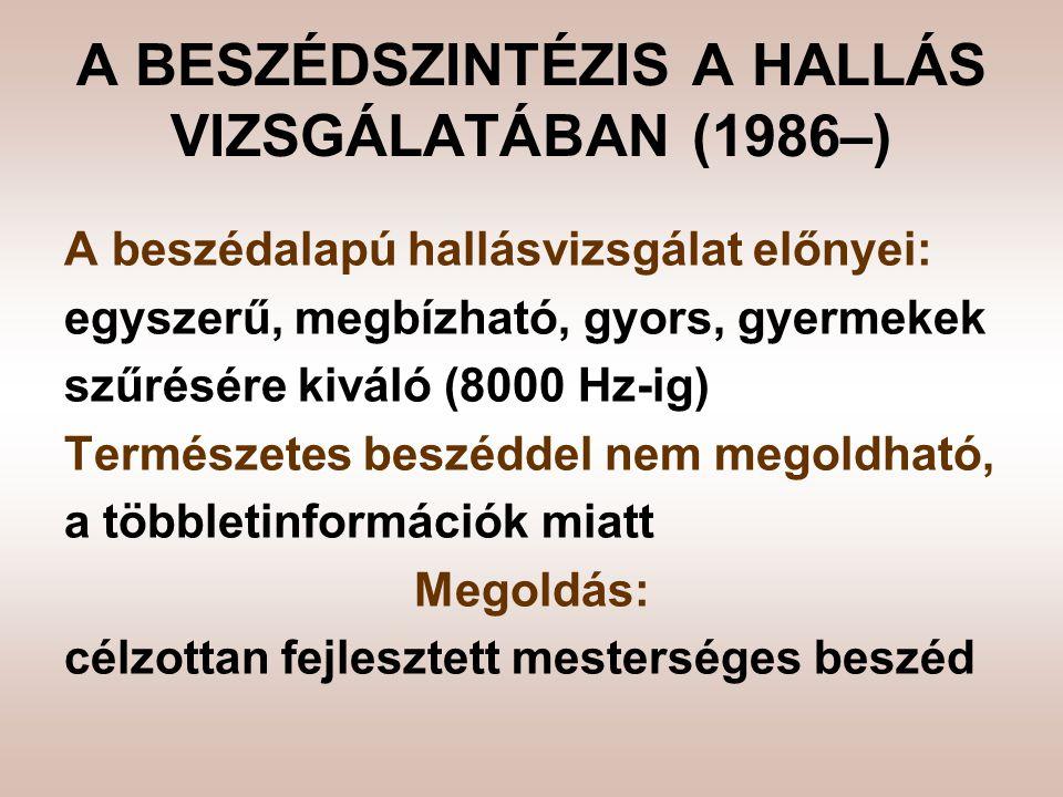 A BESZÉDSZINTÉZIS A HALLÁS VIZSGÁLATÁBAN (1986–)